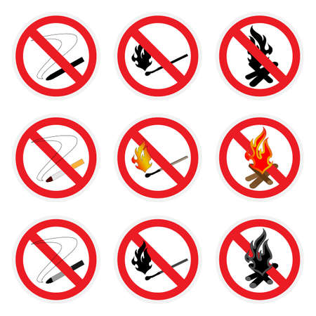 Three vector icon set. Signs no smoking, no open fire. Vector