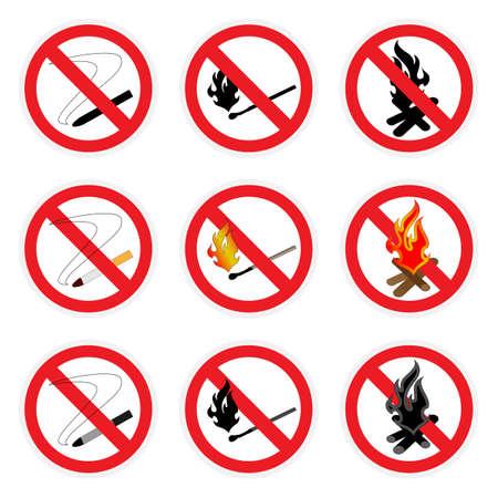 open flame: Three vector icon set. Signs no smoking, no open fire.