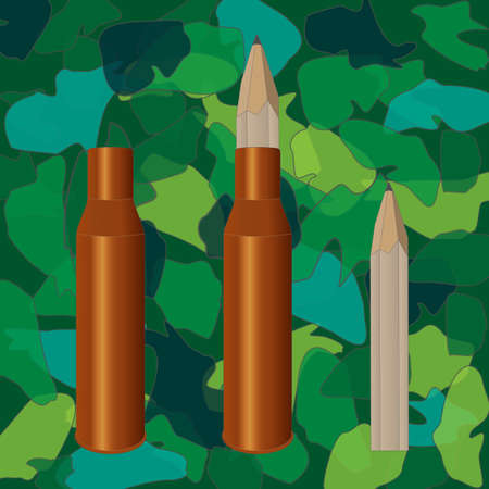 munition: Vector illustration. Pencil inside the sleeve. Army khaki background.
