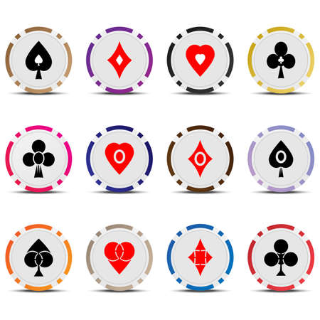wager: Three vector set poker chips and cards suits isolated on white background.