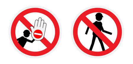 forbidden to pass: Vector icons. No entry sign.
