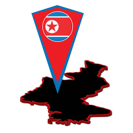 ambience: Vector illustration, isolated on white background. DPRK map and marker for map. Ambience silhouette in North Korea.  Democratic Peoples Republic of Korea. Illustration