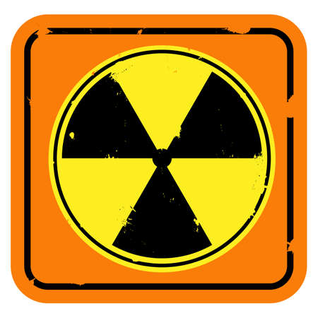 npp: Vector icon. Shabby radiation sign isolated on white background.