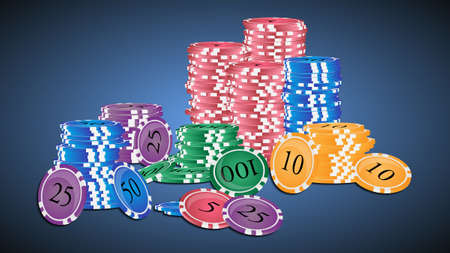 chips stack: Vector illustration. Stack of colored casino chips.
