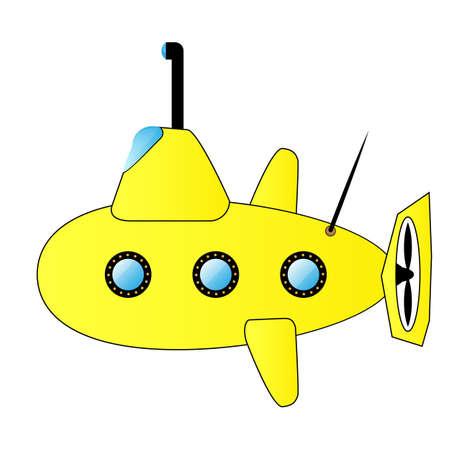 plunge: Vector illustration. Yellow submarine.