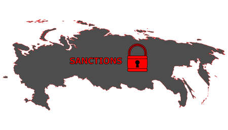 sanction: Vector illustration. Dark silhouette map of the Russian Federation under lock with the word sanctions. Isolated on white background. Illustration