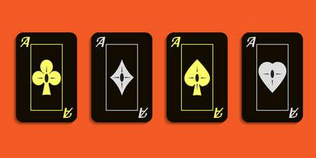 Vector set emblem aces black aces. Vector