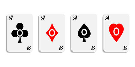 Vector. Set aces wish designer suits symbols isolated on white background. Vector
