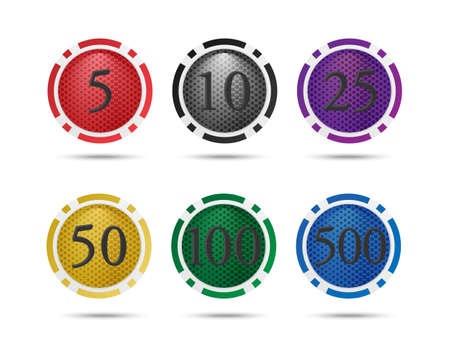 nominal: Vector icons set. Colorful poker chips with a nominal value of. Isolated on white background.