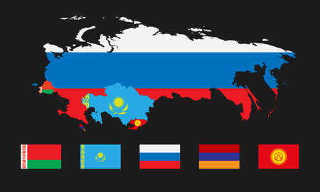 eurasian: Vector illustration. Template for infographics. Schematic map of the member states of the Eurasian Economic Union. Flags Belarus, Kazakhstan, Russia, Armenia and joining Kyrgyzstan.