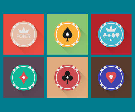 roulette online: Vector icons set. Color casino chips. Design in the style of minimal.