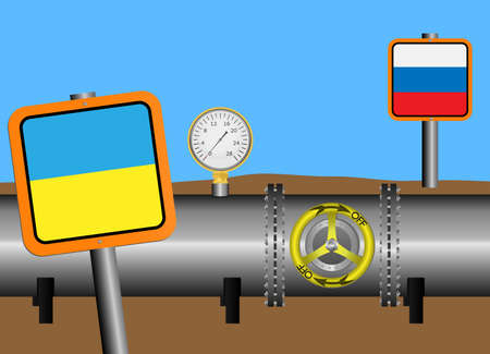 stop gate valve: Vector illustration. The gas pipeline with a closed valve. Flags of Russia and Ukraine. Debts for gas.