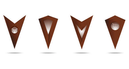 Set vector markers for map. Chocolate gradient. Vector