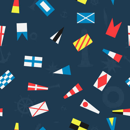 Vector seamless pattern of the nautical flags. Illustration