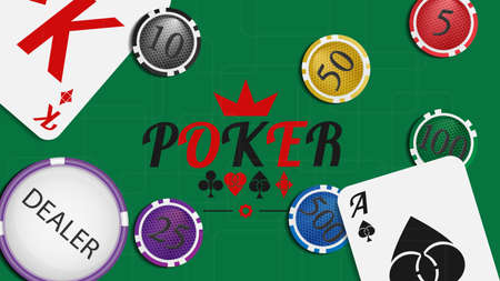wagers: Vector illustration. Poker green background. Illustration