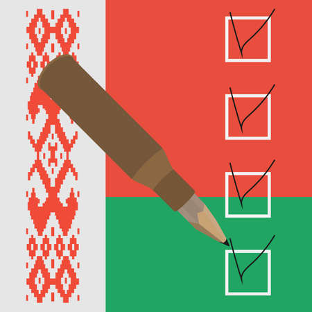 compromise: Ilustraci�n del vector. L�piz dentro de la marca de verificaci�n de la manga en la caja. Acuerdo S�mbolo Minsk en el fondo de la bandera de Bielorrusia