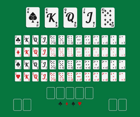 Vector illustration. Set 52 playing cards with creative suits on green background.