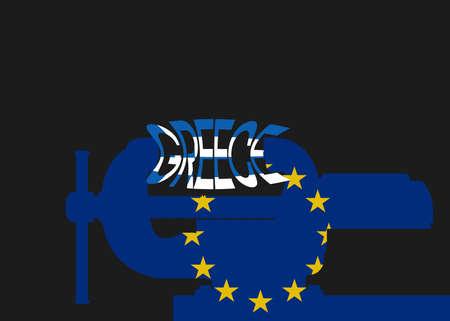 vise: Vector illustration. Silhouette vise wish flag Eu. Squeezing inscription Greece.