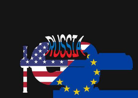 embargo: Vector illustration. Silhouette vise squeezing inscription Russia.