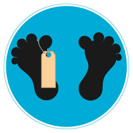 toe tag: Vector illustration. Blue sign feet dead man with tags. Illustration