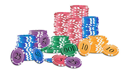 chips stack: Vector illustration. Stack of colored casino chips isolated on white background.