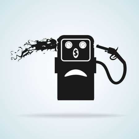 commits: Vector illustration. Gas station icon. Gasoline pump commits suicide.