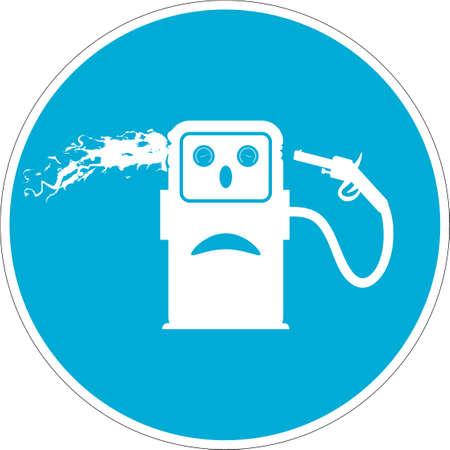 commits: Vector icon. Caricature gas station icon. Gasoline pump commits suicide. Drop price oil barrel.