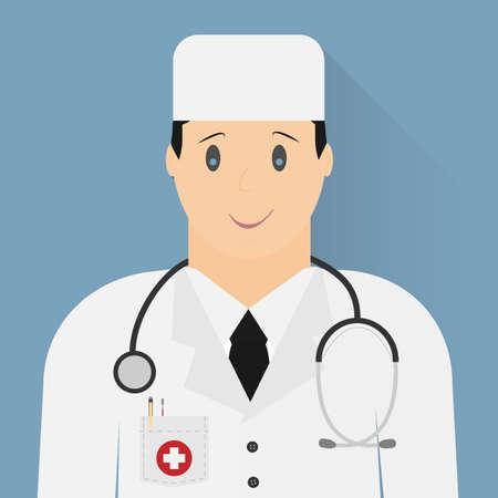 hospital gown: Doctor icon. Vector minimal design. Illustration