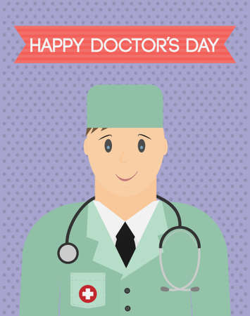 hospital gown: Vector. Happy doctors day greeting card.