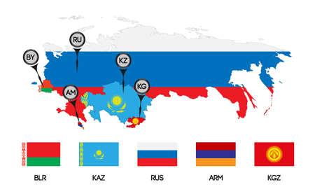 Vector. Template for infographics. Schematic map of the member states of the Eurasian Economic Union. Flags and abbreviations Russia, Belarus, Kazakhstan, Armenia and a new member Kyrgyzstan.
