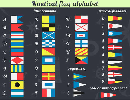 Vector illustration. A complete set of Nautical flags. Communication system used in sailing. You can use it for the print on cups, on the dishes and so on. Or use the illustration for teaching. Imagens - 37746349