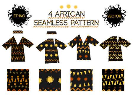Vector set african seamless pattern. Vector