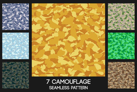 green background pattern: Vector camouflage seamless pattern set.