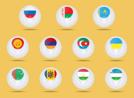 commonwealth: Vector icons set. Creative ball shaped icons. Advertise states  members of the CIS. Commonwealth of Independent States.