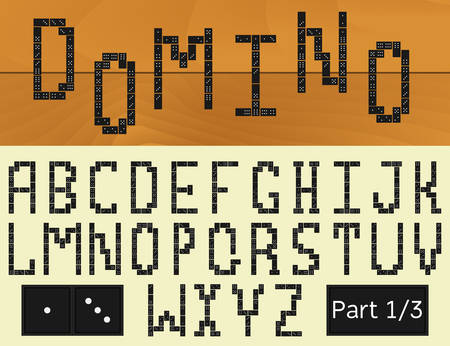 built: Vector alphabet built of dominoes. Part 1 of 3.