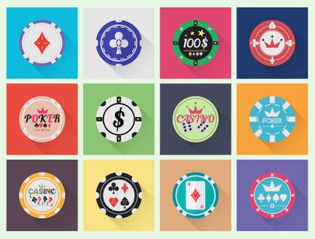 fichas casino: Fichas de casino conjunto de vectores en diseño minimalista.