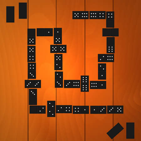 Vector illustration. The game of dominoes on a wooden table. Vector