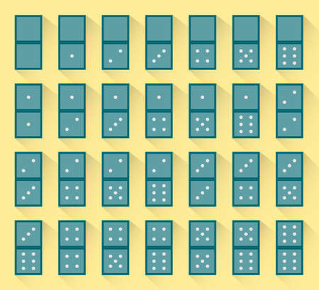 Set of green dominoes. Vector. Vector