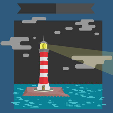 Vector illustration. Beam from the lighthouse in the night.