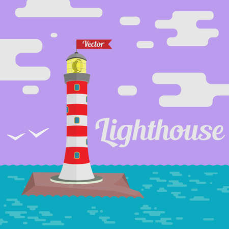 illuminative: Vector illustration. Lighthouse with a flag on the rock.