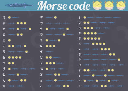 morse code: International Morse code from the fish. Vector illustration.