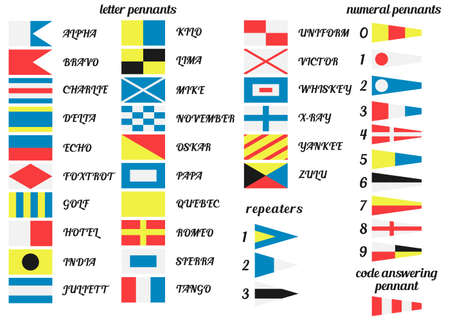 Vector illustration. Set of Nautical flags. Communication system used in sailing. Vector