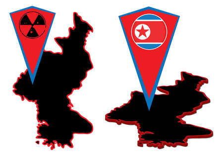 dictature: Vector Nord Cor�e cartes et des marqueurs pour carte.