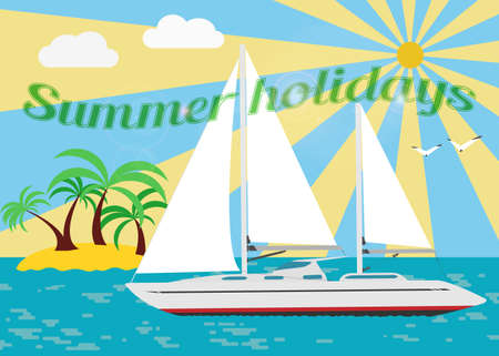 uninhabited: Summer seascape with sailboat. Vector.