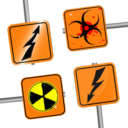 Vector set of square warning signs on poles.