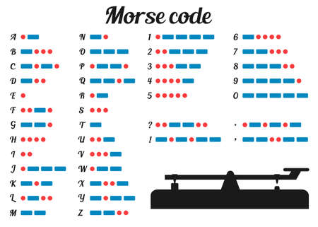 morse code: Vector illustration. Morse code and silhouette morse key.