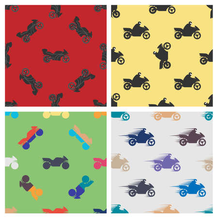 bedclothes: Set of colored seamless pattern of motorcycles.