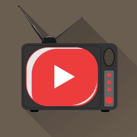 tv scherm: Vector oude TV met rode scherm.