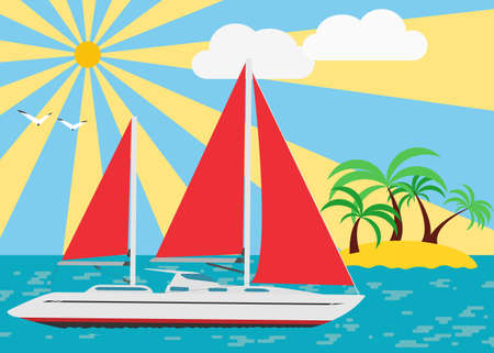 Summer seascape with walking yacht under scarlet sails. Vector.