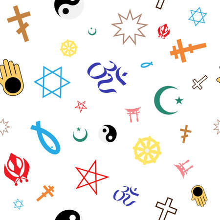 idolatry: Seamless pattern of colored religious symbols. Vector.